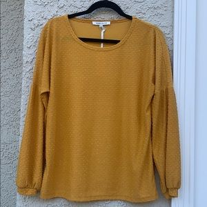 Rose+Olive Gold Swiss Dot Puffy Sleeve Top Size M